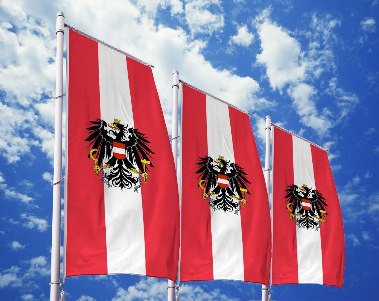 Österreich Flagge mit Wappen
