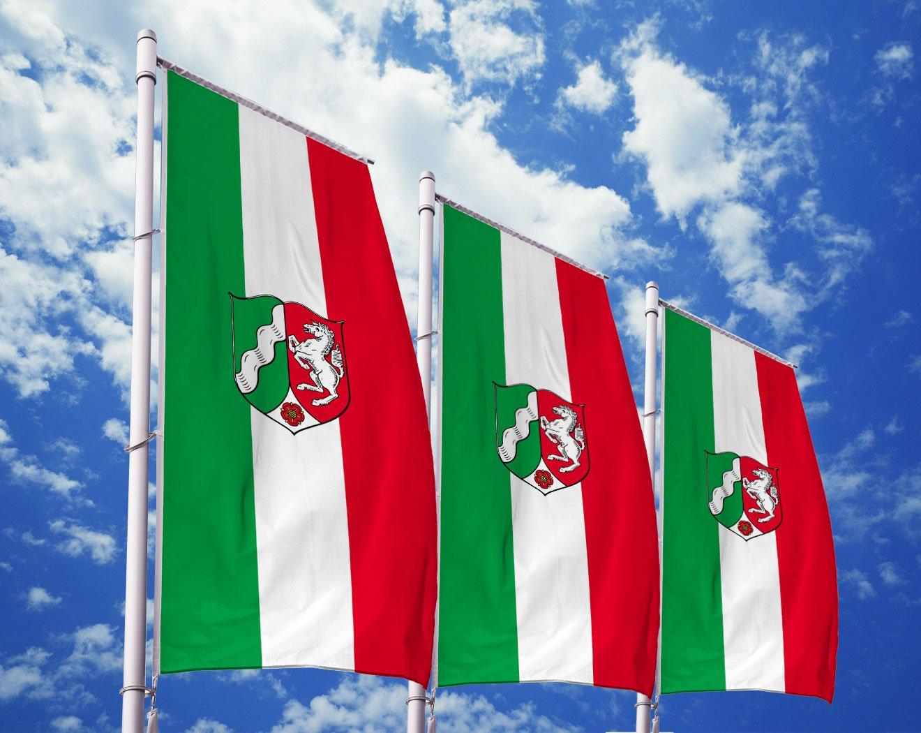 Nordrhein-Westfalen-Flagge mit Wappen bedrucken lassen