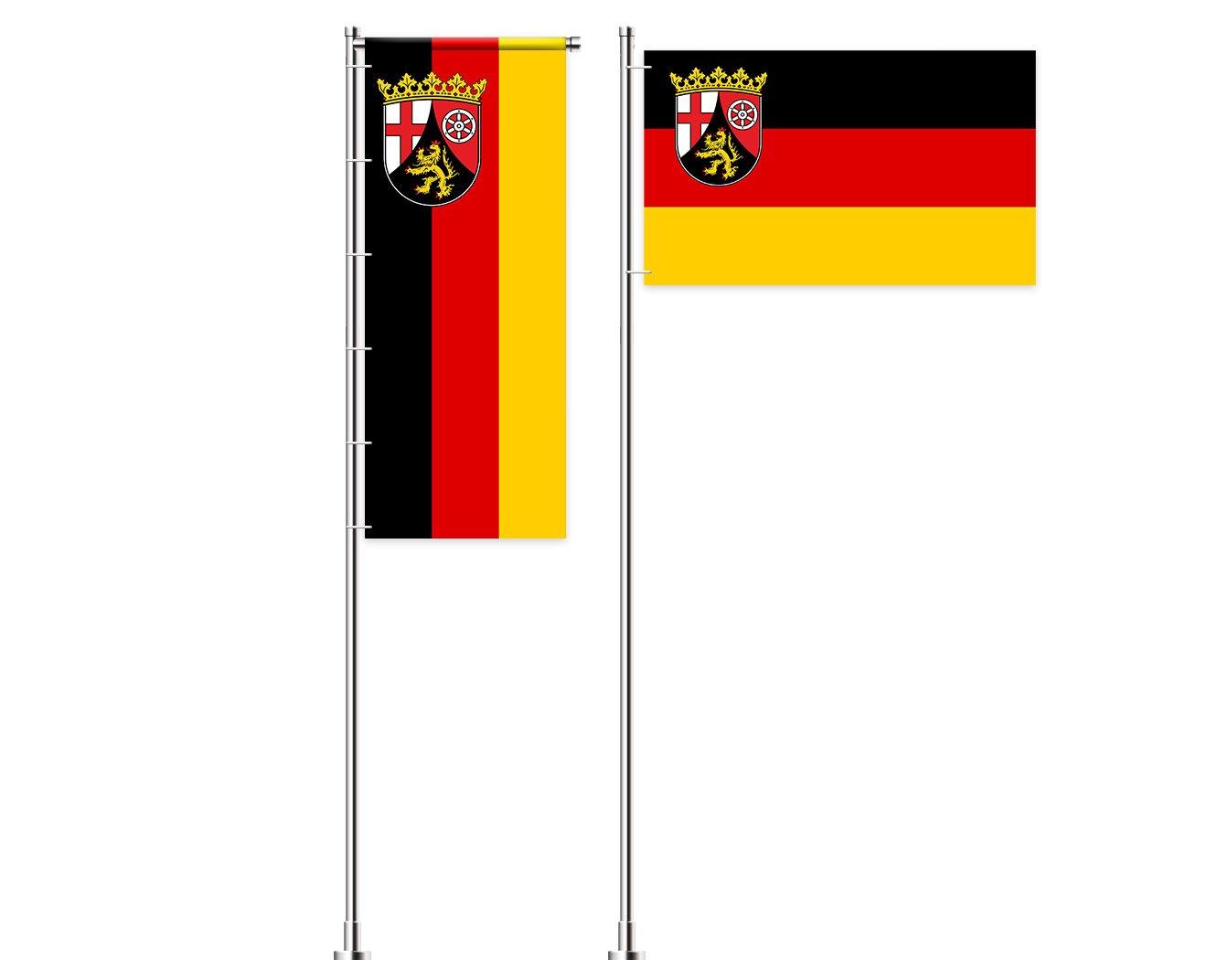 Rheinland-Pfalz-Flagge mit Wappen bedrucken lassen