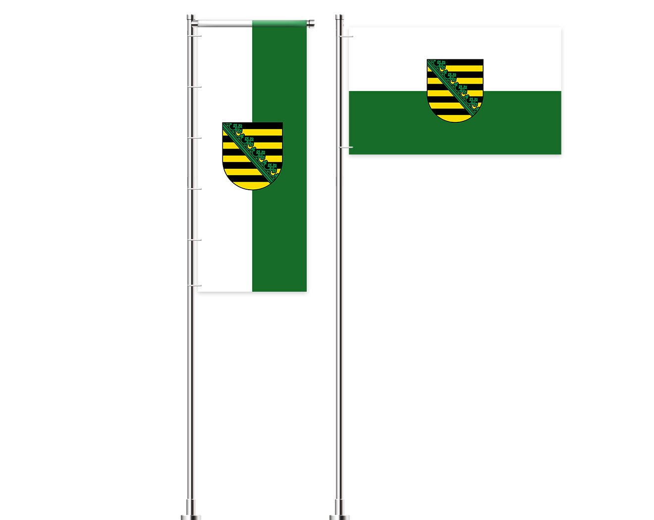 Sachsen-Flagge mit Wappen bedrucken lassen