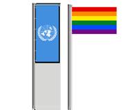 Regenbogen Flagge - Trauerfahne - UN Flagge