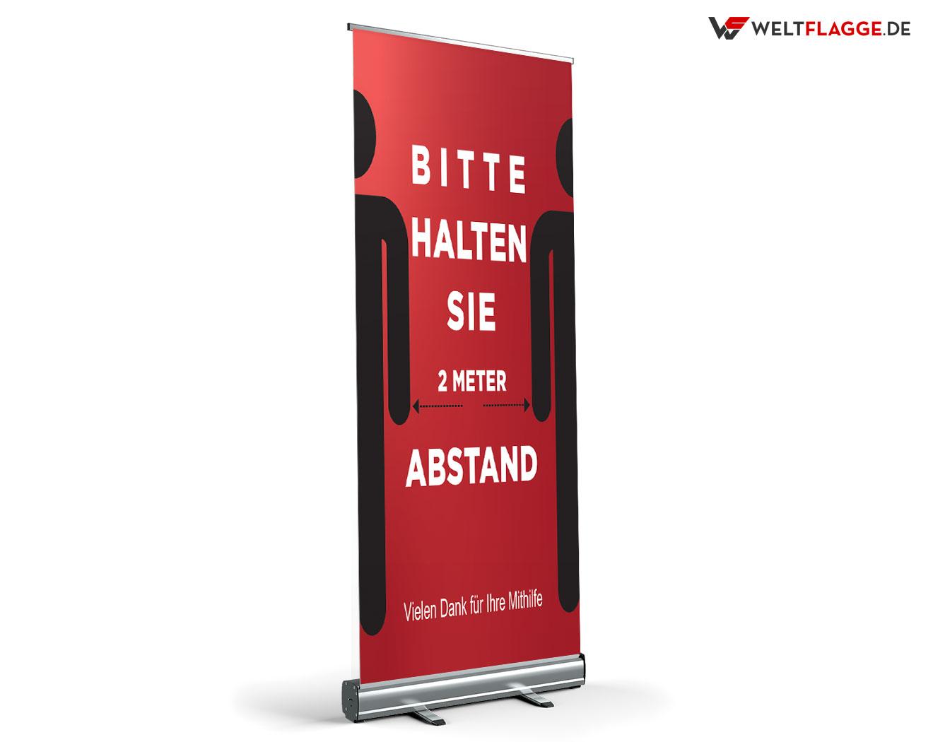 Abstandhalten Roll-Up Banner bedrucken lassen