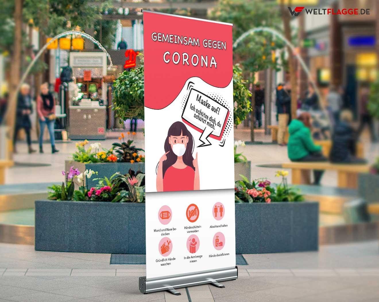 Gemeinsam gegen Corona Roll-Up Banner bedrucken lassen