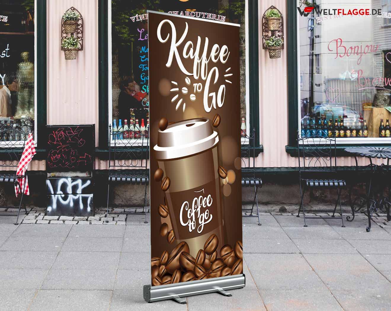 Kaffee to Go Roll-Up Banner bedrucken lassen