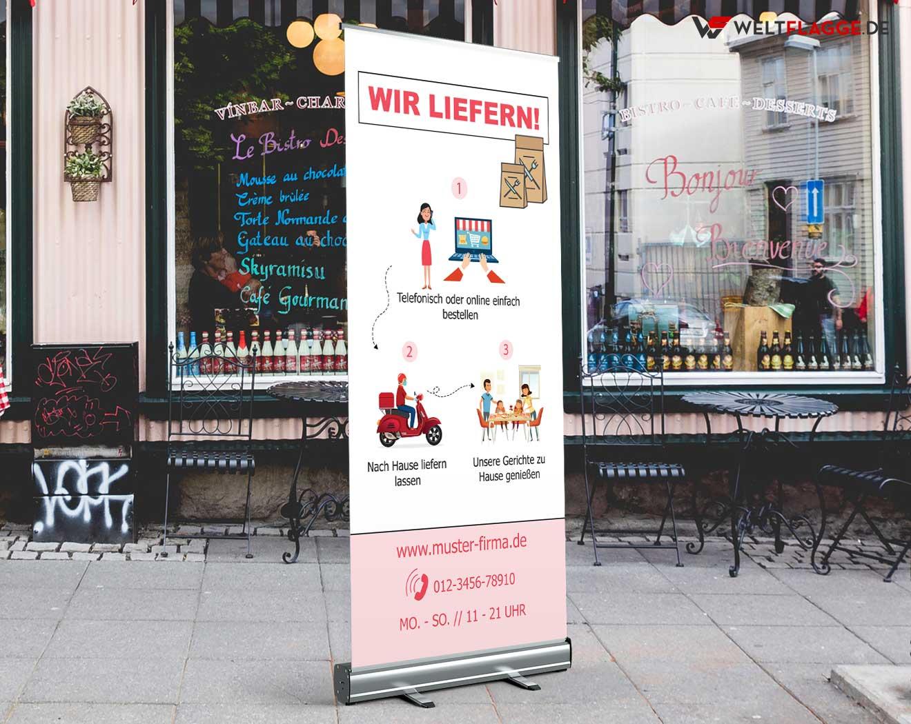 Restaurant Lieferservice Roll-Up Banner bedrucken lassen