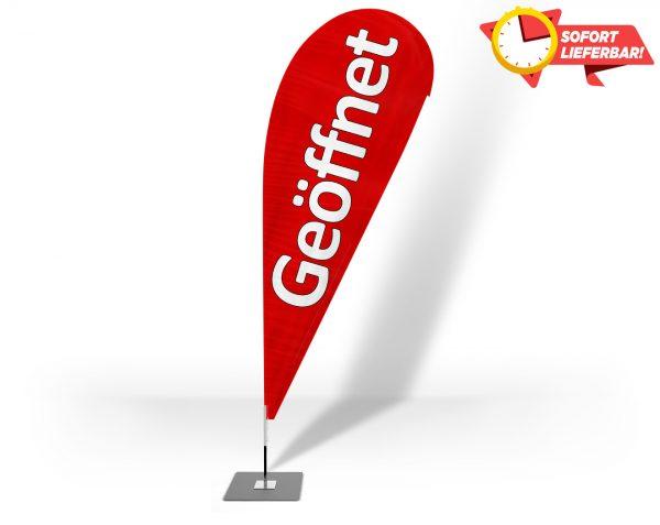 Geöffnet Beachflag - Werbefahne - Werbebanner