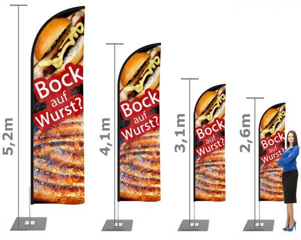 Bockwurst Imbiss Beachflag - Werbefahne - Werbebanner