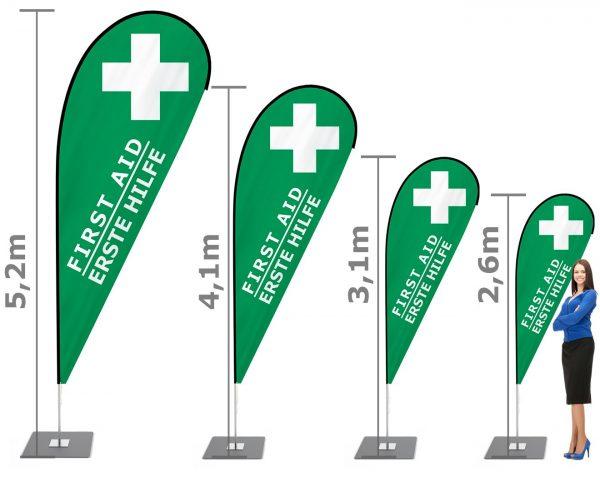 Erste Hilfe / First Aid Beachflag - Werbefahne - Werbebanner