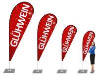 Glühwein Weihnachtsmarkt Beachflag - Werbefahne - Werbebanner / Rot-Weiß