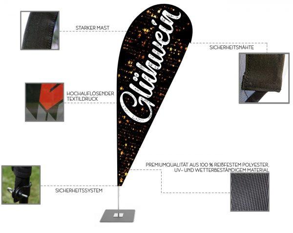 Glühwein Weihnachtsmarkt Beachflag - Werbefahne - Werbebanner / Schwarz-Weiß