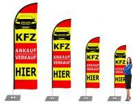 Premium KFZ Verkauf / Ankauf Werbefahne - Outdoor Beachflag mit Mast für den Außen und Innenbereich. Banner-Fahne inkl. Druck ab 2,6 m bis 5,2 m Haiflosseform - Strandfahne zum Aufstellen