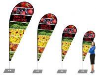 """""""Obst und Gemüse- Lebensmittelgeschäft"""" Beachflag – Werbefahne, Tropfenform Flagge, Beach fahne"""