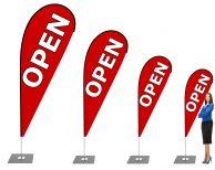 OPEN Reklame Beachflag - Werbefahne - Werbebanner