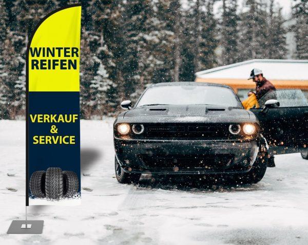 Winterreifen Verkauf & Service Beachflag - Werbefahne - Werbebanner