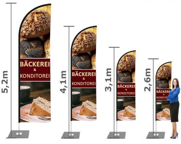 Bäckerei / Konditorei Beachflag, Werbefahne, Werbebanner mit Mast inkl Druck