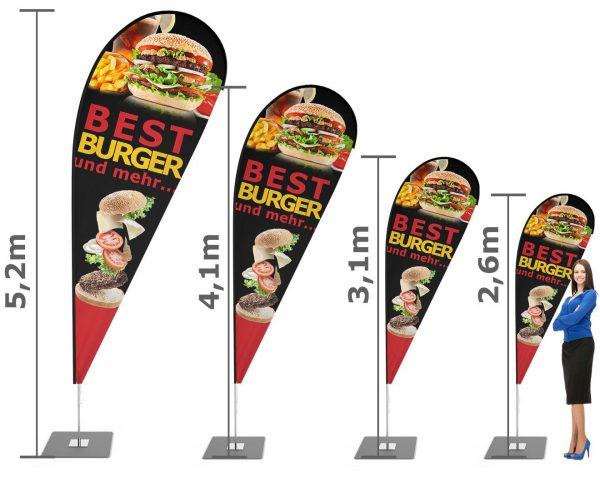 """Burger - Pommes - Imbiss"" Beachflag - Werbefahne - Werbebanner"