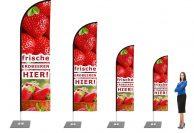Erdbeeren Beachflag - Werbefahne - Werbebanner