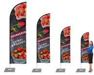 Erdbeeren selber pflücken Beachflag - Werbefahne - Werbebanner