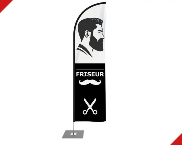 "Friseur / Friseursalon / Barber / Barbershop / Hairdresser"" Beachflag – Werbefahne,Haiflosse Flagge"
