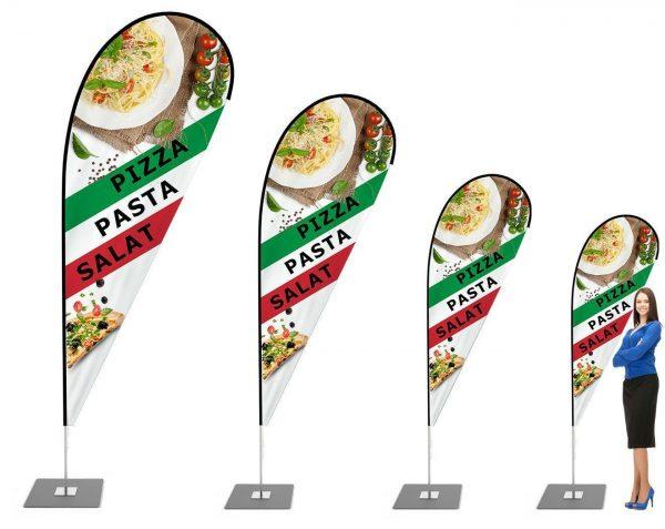 """""""Pizza, Pasta, Salat - Italienisch"""" Beachflag - Werbefahne - Werbebanner / Tropenform"""