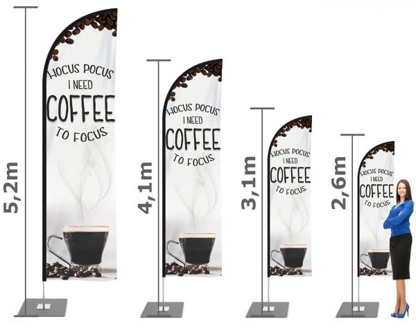 """Kaffe / Kaffeediele / Kaffeehaus / Coffee Beachflag"" Beachflag – Werbefahne,Haiflosse Flagge"