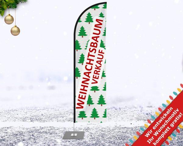 Premium Weihnachtsbaum Verkauf Werbefahne - Outdoor Beachflag mit Mast für den Außen und Innenbereich. Banner-Fahne inkl. Druck ab 2,6 m bis 5,2 m Haiflosseform - Strandfahne zum Aufstellen