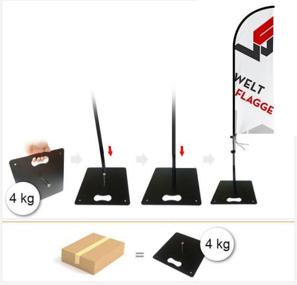 Bodenplatte - 4kg für Beachflag / Werbefahne / Werbeflagge