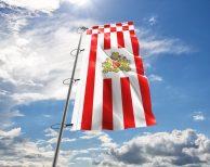 Bremen Staatsflagge mit Wappen - Hissflagge in vielen Größen und Befestigungen (Premiumqualität)