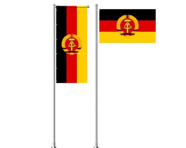 Deutsche Demokratische Republik – DDR Flagge mit Wappen (Handmade – Premiumqualität) - Hissfahne Flagge