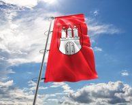 Hamburg - Flagge, Fahne , Hissflagge in vielen Größen und Befestigungen (Premiumqualität)