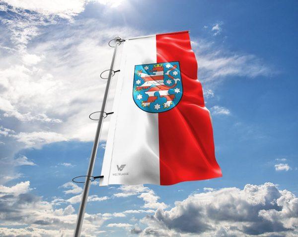 Thüringen-Flagge / Fahne mit Wappen