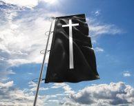 Trauerfahne / Schwarzeflagge mit Kreuz (Premiumqualität)