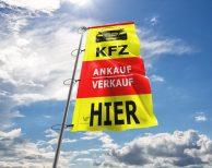 KFZ Verkauf & Ankauf HIER - Werbefahne in vielen Größen und Konfektionen