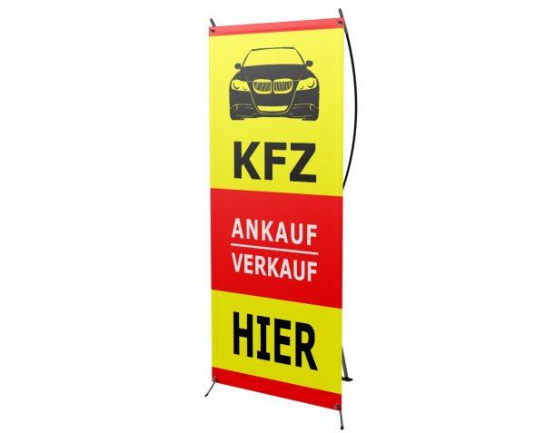 KFZ Verkauf & Ankauf HIER - X-Banner - PVC Planen Werbeplane