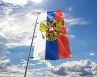 Russland / Russische / Russia Fahne mit Wappen in vielen Größen und Befestigungen (Premiumqualität)