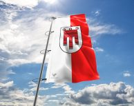 Vorarlberger Fahne mit Wappen in vielen Größen und Befestigungen (Premiumqualität)