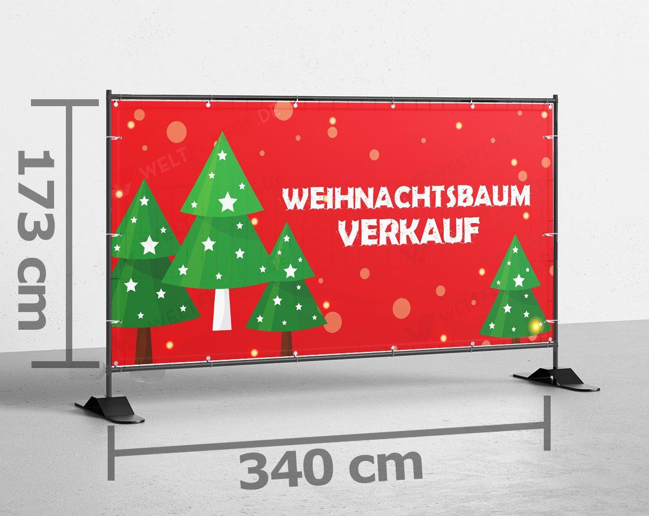 Weihnachtsbaum Verkauf Bauzaunbanner bedrucken lassen