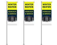 Winterreifen Verkauf & Service Werbefahne in vielen Größen und Konfektionen