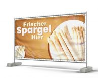 Weißer Spargel Bauzaunbanner - Werbeplane - Banner