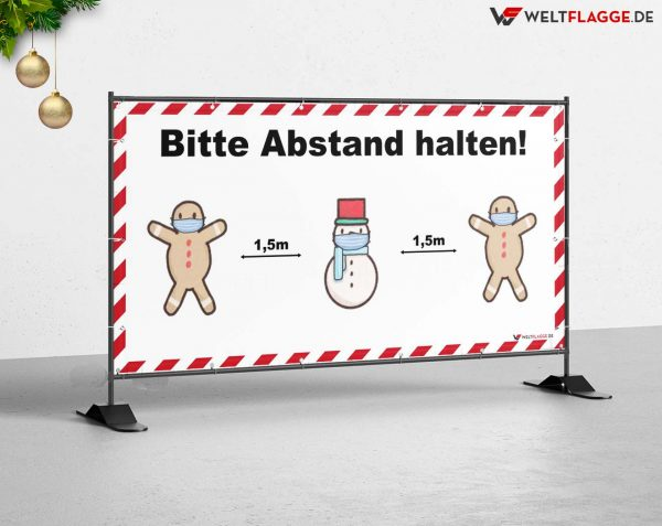 Abstand halten! Bauzaunbanner - Werbebanner / Weihnachtsmotiv