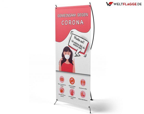 Hygiene Hinweise - Gegen Corona - X-Banner - PVC Planen Werbeplane