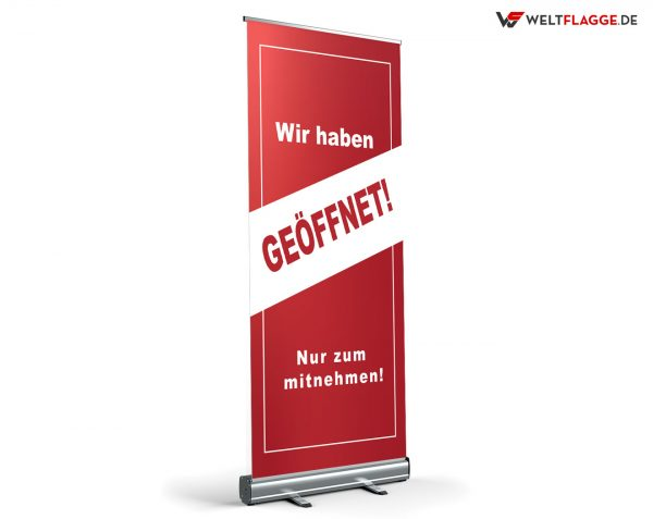 Geöffnet / Nur zum Mitnehmen Roll-Up Banner - Werbebanner
