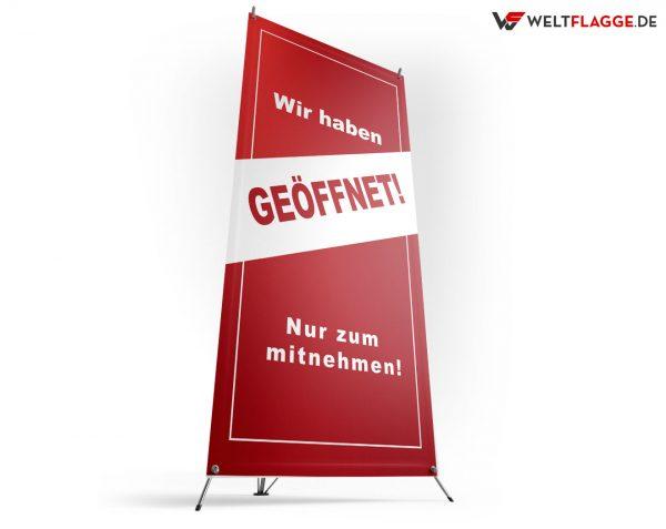 AbstandhalGeöffnet / Nur zum Mitnehmenten - X-Banner - PVC Planen Werbeplane