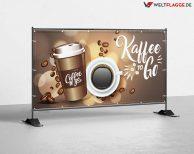 Kaffee to Go Bauzaunbanner - Werbebanner