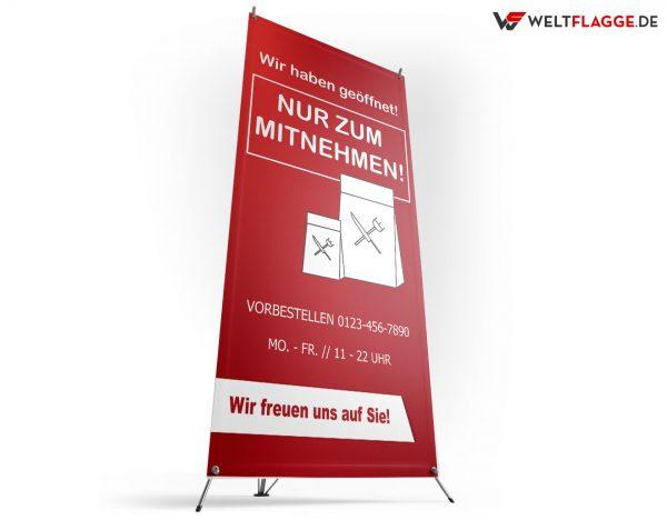Nur zum Mitnehmen - X-Banner - PVC Planen Werbeplane