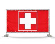 Erste-Hilfe / Rotes Kreuz (rot-weiß) Bauzaunbanner - Werbebanner