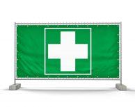 Erste Hilfe grün – Festival Bauzaunbanner - Werbebanner