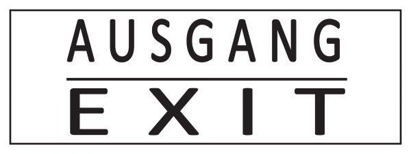 Ausgang / Exit schwarz-weiß Festival Werbebanner - PVC Planen Werbeplane