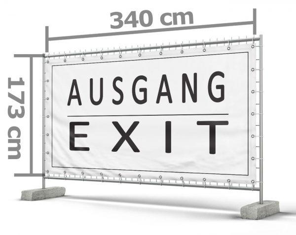 Ausgang / Exit schwarz-weiß Festival Bauzaunbanner - Werbebanner
