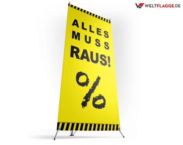 Alles muss raus! - X-Banner - PVC Planen Werbeplane / gelb